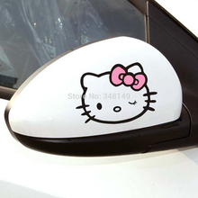 2 X Funny Car Accessories Hello Kitty Car Stickers and Decal for Ford Focus Volkswagen Polo Golf Opel Bmw Audi Kia Skoda Honda(China)