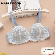 688 sky blue Dropshipping gather bras bracelet girls underwear Bra push up Summer sexy lace young Women 1/2 half cup(China)