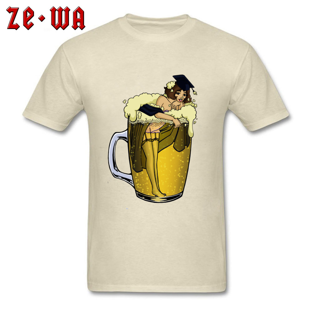 Man Top T-shirts pin up girl in beer Funny Tops Tees Pure Cotton Round Neck Short Sleeve Design T Shirt Summer/Autumn pin up girl in beer beige