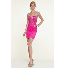 Custom Made Fuchsia/Lavender Beading Crystal Sequins Satin Cocktail Dresses See Through Back Homecoming Gown Party Dress
