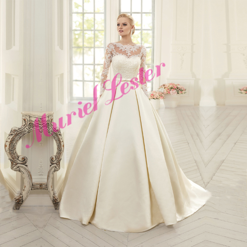 Vestidos De Novia 2019 Long Sleeves Satin A Line Wedding Dresses Custom Made Appliques White/Ivory Bride Dress Robe De Mariee