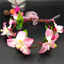 Women Lady Bohemian Bridal Bridesmaid headband 5flowers Wreath Flower Crown Wedding Garland Forehead Hair Headband Beach(China)
