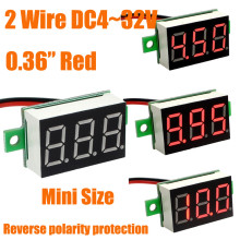 HOT Red LED display Mini Digital 4v-30v Voltmeter Tester Voltage Panel Meter For Electromobile Motorcycle Car Free Shipping