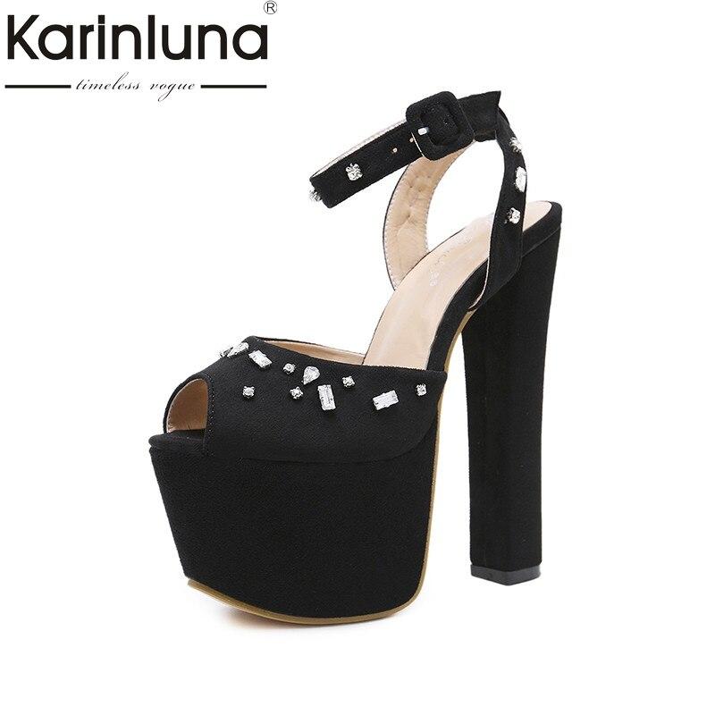Karinluna 2018 Summer New Brand Elegant Crystal Thick Platform Sandals Super High Heels Shoes Woman Big Size 34-40 Party<br>