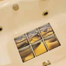 6pcs 13x13cm Water desert pattern 3D Anti Slip Waterproof Bathtub Sticker Wonderful3.09(China)
