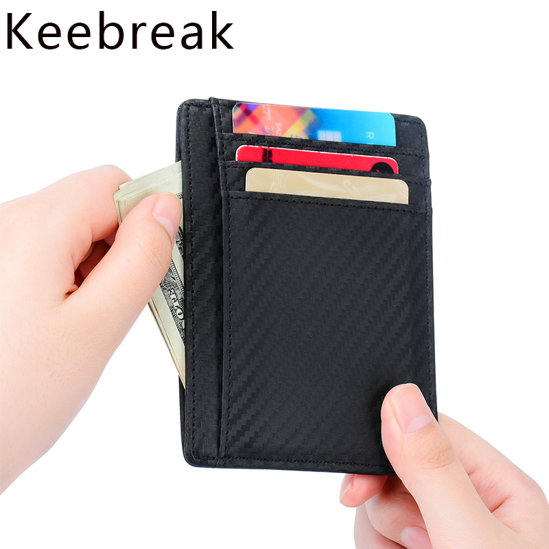 New Men/'s Genuine Leather Black Thin Slim ID Credit Card Money Holder Wallet.