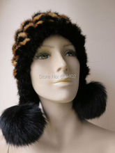 winter warm /Real fox balls and mink knitted woman's hat /see picture black with yellow(China)