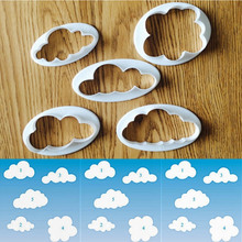 Aouke 5pcs/set Lovely Clouds Plastic Biscuit Cutter Sugarcraft Gum Paste Tools for Kitchen Baking Decoration Cookie Accessories