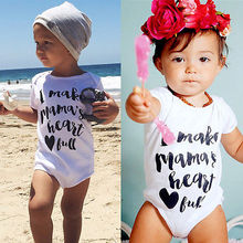 summer romper 2016 wholesale dropshipping newborn kids baby boy girls letter printed romper clothes outfits 0-24M