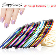 30 Pieces/lot Roll Striping Tape Line Nail Art DIY Colorful Laser Foil Lace Strip Nail Care Gold Silver Sticker Decal Decoration