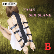 Buy Thierr Fetish slave Neck Collar Hand Cuffs body harness bondage Restraint arm binders Sex Toys Couple adult games