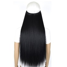 "TOPREETY Heat Resistant B5 Synthetic Fiber 20"" 50cm 50g Straight Elasticity Wire Halo Hair Extensions"