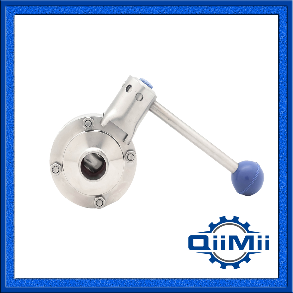 3.5 VB  SS304 Silicon Manual Handle Butterfly Valve weld stainless steel sanitary<br>