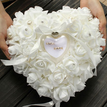 Hanging Rose Wedding Ring Pillow with Gift Ring Box Wedding Ring Pillow Box Heart Design Rhinestones for Weddings Decor GF072(China)
