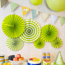 Green Mixed Size Party Decorative White Paper Ball Lanterns Kids Birthday Hanging Decor Tissue Paper Fans Craft(China)