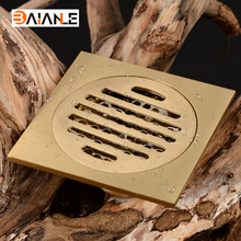 Free Shipping Luxury Golden/Antique Square Floor Waste Drain Bathroom Shower Drain 10cm * 10cm Floor Grate Drainer(China)