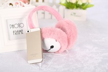 Beautiful Plush headphones winter ear warmer earmuffs music Cartoon earmuffs Headphone for Girls