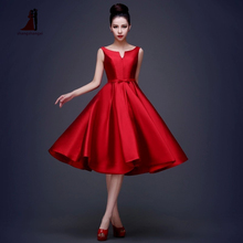 2017 Red Short Homecoming Evening Dress Bridal Taffeta A-line Lace Up Formal Dresses Robe De Soiree Tea Length Party Prom Dress