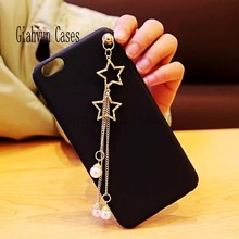 2 star 3 Pearl Star metals tassel soft TPU phone Case Cover For iPhone 5 5S SE 7 7Plus 8 8plus X 6 6S 6plus capa para phone case(China)