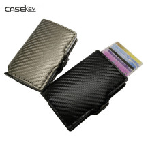 CaseKey Antitheft Mini Wallet High Quality Carbon Pu Leather Wallet Slim Men Leather RFID Mini Wallet Automatic Credit Card Case