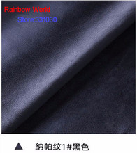 1# black High Quality Nappa Stripes vein grain PU Leather fabric for DIY sofa bed shoes bags  Garment material(138*100cm)