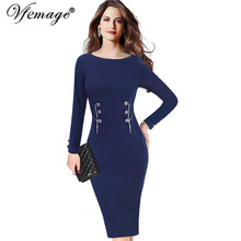 Vfemage Womens Elegant Vintage Button Zipper Long Sleeve Wear To Work Business Evening Party Bodycon Pencil Wiggle Dress 10100(China)
