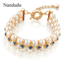 Nandudu Hot sale White PEARL bracelet blue Crystal bangle Female bracelet Bridal Jewelry Gift B449