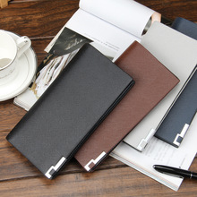 Men's Wallet Long Korean Leather Wholesale Ultrathin Cross Pattern1022 Hot Sale Coin Pocket Solid Manufacturers Selling