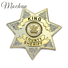 MQCHUN The Walking Dead Uniform Star King County Sheriff Badge Cosplay Pin Brooch High Quality Alloy Movie Jewelry For Men Women