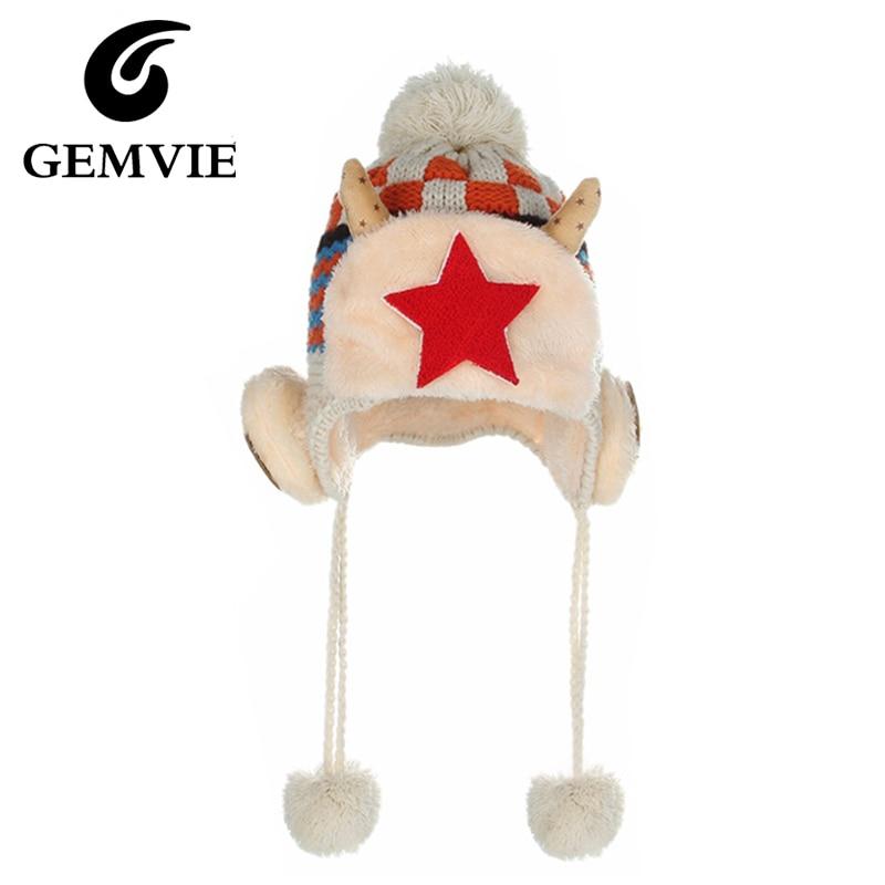 Childrens Knitted Hats Casual Plaid Stars Cotton Earflaps 2016 Warm Hat Winter Cap 3 colors skullies beaniesÎäåæäà è àêñåññóàðû<br><br><br>Aliexpress