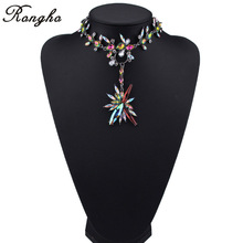 Brand 2017 Facebook Fashion Starburst NecklaceS&PendantS Za Crystal Flower Statement Necklace pendant Chokers Collar Jewelry