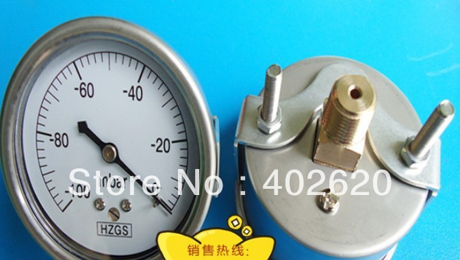free shipping  60mm back connect 1/4 stainless steel vacuum manometer, pressure -100mba-0, 20pcs/lots Pneumatic Parts<br><br>Aliexpress