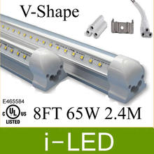 20% discount V-shape led tube light 65w 8ft 2.4m double sides integrated led tubes 384leds AC110-240V Warm Cold White UL CE