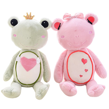 1 Pcs 55cm kids toy Couple Frog Prince Frog Stuffed&Plush Toy Doll Best Gifts For Lovers Pink And Green Two Colors Choice(China)
