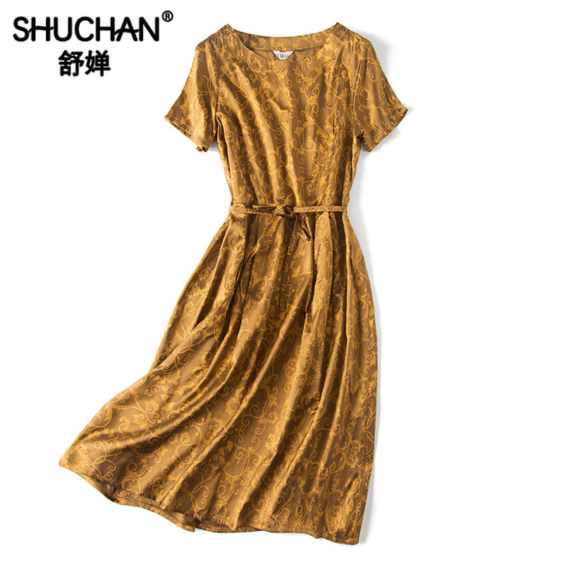 Shuchan Jacquard Natural Silk Summer Dress New 2019 Fashion Summer Dresses Women Short Sleeve Chinese Style Dresses A0597