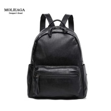 MOLJEAGA Brand 2017 Fashion Women Backpacks Rivet Black Soft Washed Leather Bag Schoolbags For Girls Female Leisure Small bags
