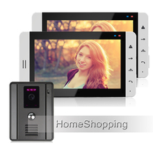 "FREE SHIPPING Home 7"" Color TFT Touch Video Doorphone Intercom Kit / Set With 2 White Screen + Night Vision Door Camera IN STOCK"