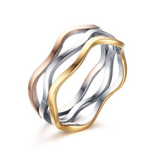 Tiamor Unique Three-ring Trichromatic Wave Ring 7mm Fashion Unisex Jewelry Stainless Steel Made Ti714