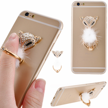 Lovely Charming Bling 3D Fox Crystal Metal Finger Ring Phone holder For iPhone Samsung huawei Smart Phone MP3 Car Mount Stand