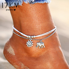 Buy 17KM New Bohemian Double Layer Anklets Women Vintage Star Elephant Pendent Anklet Bracelet Foot Jewelry Gift Wholesale for $1.37 in AliExpress store