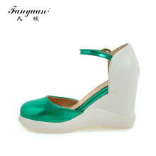 Fanyuan 2017 Summer Hot Sale Women Wedges Sandals Super High Heel Cover Heel Platform Fashion Shining color Ankle Strap Shoes
