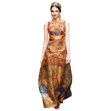 1388 Free Shipping 2017 Woman Fashion Runway Ethnic Retro Vintage Long Maxi Silk Print Dresses for Women Dress Summer style