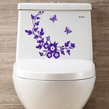 Hot sale creative DIY Flowers and butterflies toilet wall stickers home decor living room mirror wall stickers for kids rooms