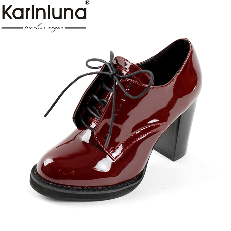 KARINLUNA Large Size 32-43 Customized Women Shoes Woman Retro British Style Fashion High Heels Date Pumps Lady Footwear<br>