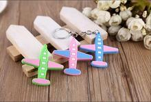 2017 New Mini Silicone Cute Plane Keychain Colorful Aircraft Key Holder, Key Ring Best Gifts for Women &Girl  Free shipping
