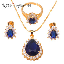 ROLILASON Gold Tone zirconia Austrian Element Lead free Earring Necklace Ring Jewelry Set Sz #5.5#6.75##7.5#8.5JS134(China)