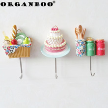 ORGANBOO 1PC Home decoration hooks for hanging kitchen cute cartoon shape wall strong traceless wall hook 3 styles