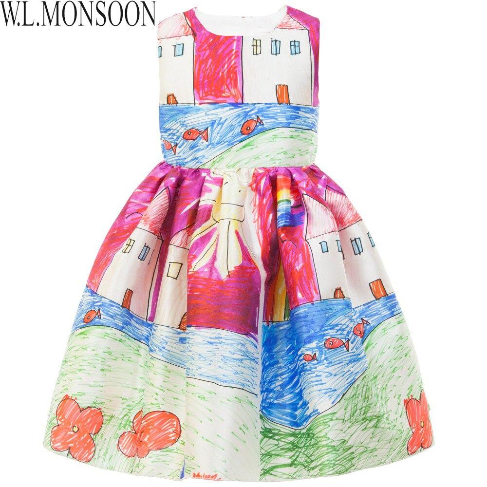 Girls Dress Winter 2015 Brand Baby Girls Clothes Kids Dresses Painting Sleeveless European Children Dress Princess Costume 2-10Y<br><br>Aliexpress
