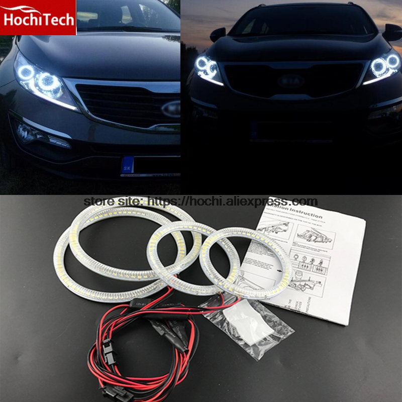 HochiTech Ultra bright SMD white LED angel eyes 2000LM 12V halo ring kit daytime running light DRL for Kia Sportage 2011 - 2014<br>