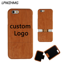 50pcs Free Custom LOGO Natural Wooden Case Cover For iPhone 5 5S 6 6s 6 Plus Phone Case Can Custom Company LOGO Protection Shell(China)